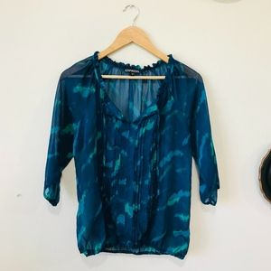 Express Sheer Blue Green 3/4 Sleeve Ruffle Top